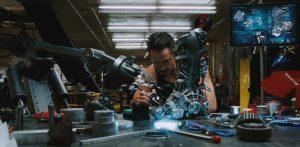 Tony Stark building the Iron Man suit (movie screenshot)